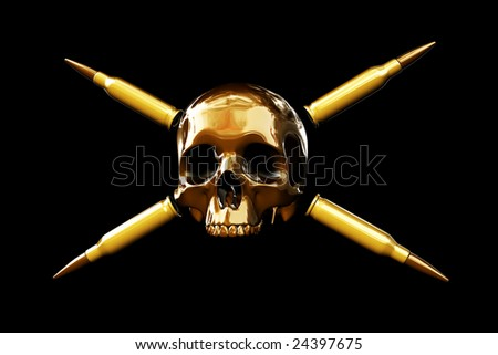 Skull with four crossed bullets on black background. Pirate flag alike