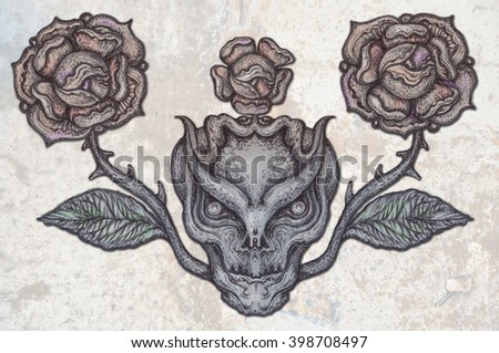 skull with modern street style attributes.