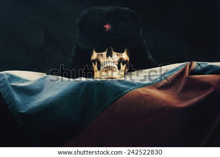Skull with old Uschanka and Russian Federation Flag - stock photo