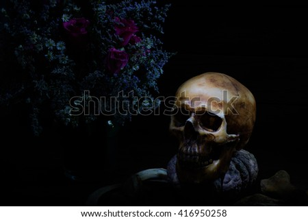 Skull with pumpkin and flower in the vase on dark night
