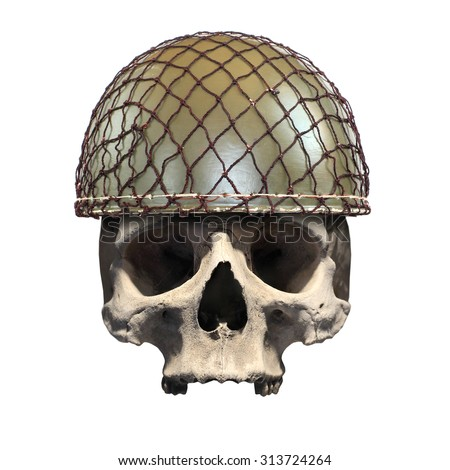 Skull with retro military helmet ( paratrooper's helmet) on a white background. Soldier killed in action. - stock photo