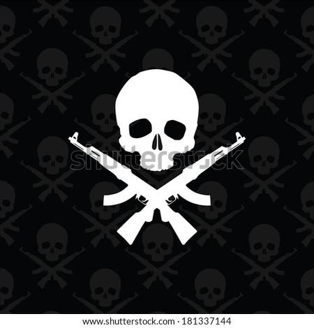 Skull with rifles illustration - stock photo