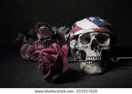 Skull with roses vintage lonely concept still life art style with light painting technique - stock photo