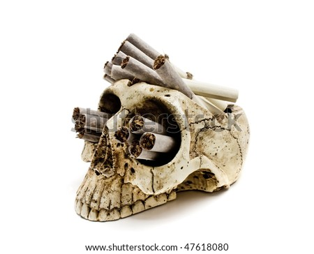 skull with russian cigarettes isolated - stock photo