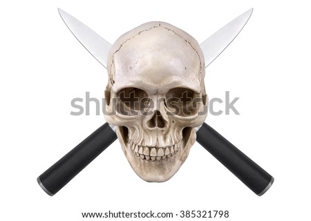 Skull with two crossed knives isolated on white background