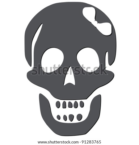 skull with white bow against white background, abstract art illustration