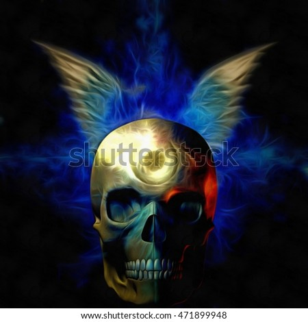 Skull with wings 3D Render