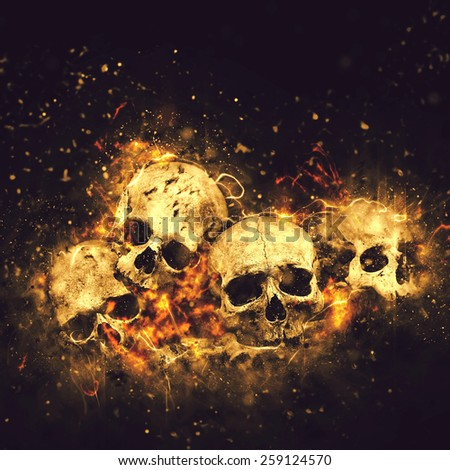 Skulls And Bones as Conceptual Spooky Horror Halloween image. - stock photo