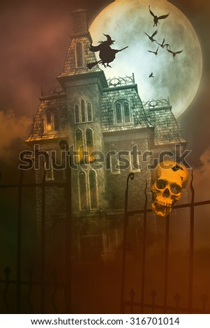 Skulls and Skeletons with creepy abandoned house in background - stock photo