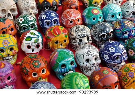 Skulls for Sale at Chichen Itza - stock photo