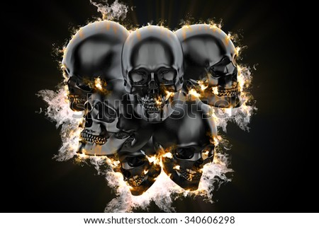 Skulls in flame. 3d illustration - stock photo