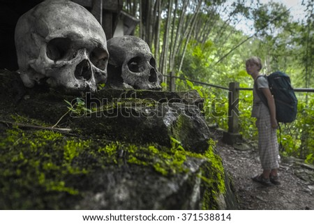 Skulls in Tana Toraja's traditional cemetery in a forest and tourist with backpack. Sulawesi island, Indonesia - stock photo