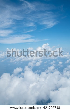 Sky above cloud from air plane - stock photo