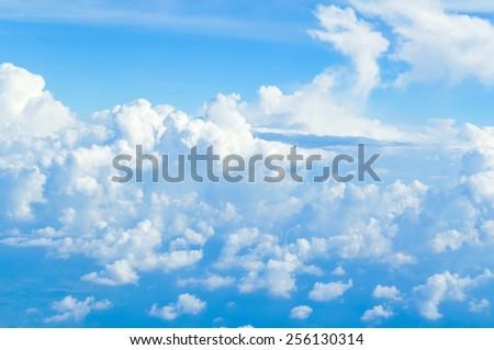 sky above clouds - blue heaven bright daylight - stock photo