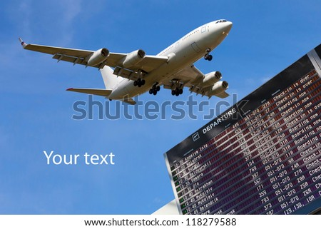 sky, airliner, Airport flight schedule with list