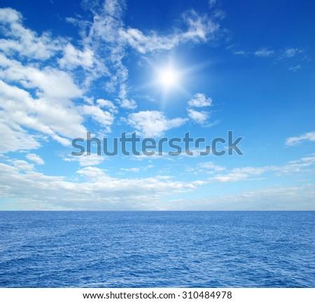 sky and blue sea - stock photo
