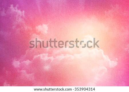 sky and cloud abstract background with pastel gradient color and grunge paper texture    - stock photo