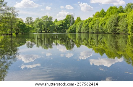 Sky and cloud reflection on lake