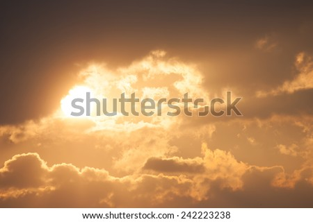 Sky and cloud with sunray, sunbeam