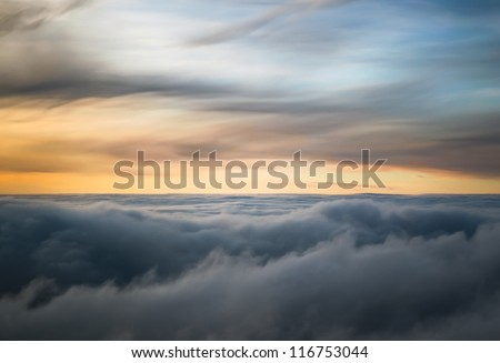 sky and clouds background in the evening - stock photo
