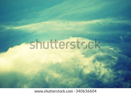 sky and clouds in retro style, nature abstract background - stock photo