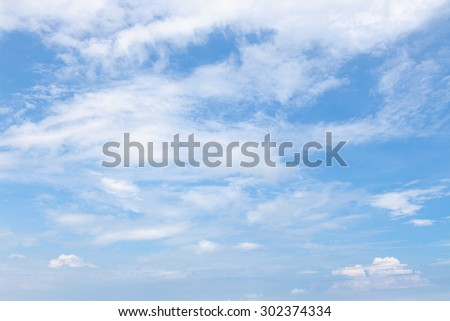 Sky and clouds Mostly clear skies cloud cover during the day. - stock photo