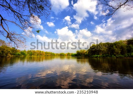 Sky and clouds reflection on Lake - stock photo
