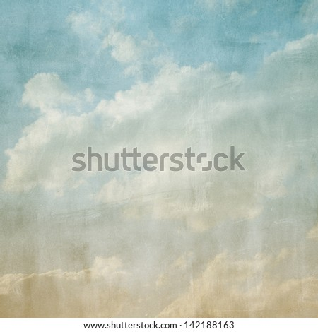 Sky and clouds with a yellow to blue gradient. Image has a textured paper overlay and grain pattern visible at 100%.