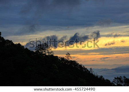 sky and morning gentle sunrise and nature background