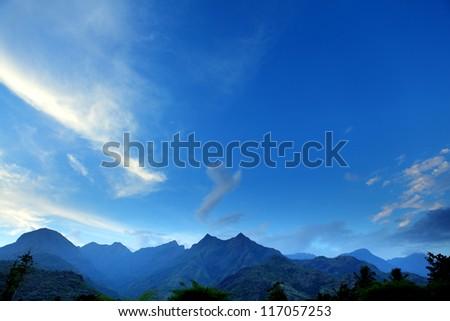 Sky and Mountains in India.