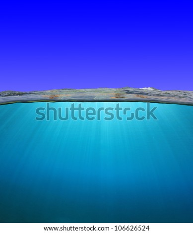 Sky and Ocean separated by Water surface - stock photo