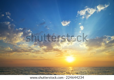 Sky and sea on sunset. Nature composition. - stock photo