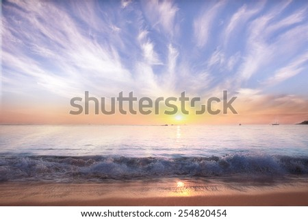 sky and sea sunset landscape - stock photo