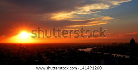 Sky at sunset as background - stock photo