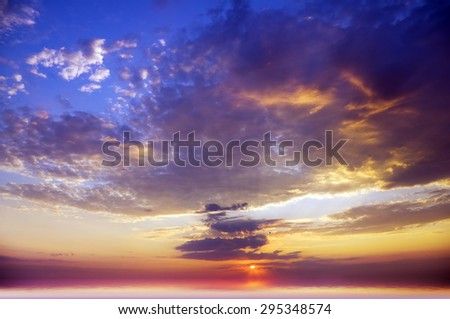 Sky background and sea on sunset. Nature composition.  - stock photo