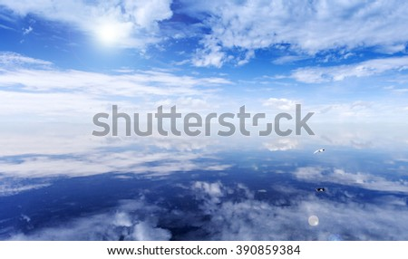sky background and water reflection