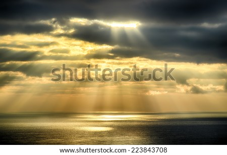 Sky background on sunrise nature composition. HDR image - stock photo