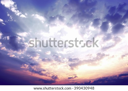 Sky background, the sunset over [Blur and Select focus background] - stock photo
