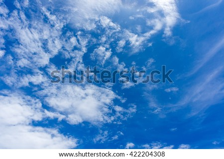 Sky beautiful clouds blue and white in the air on summer natural texture background.