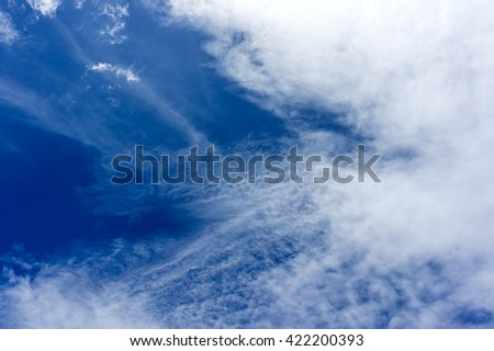Sky blue and white clouds in summer natural texture background.