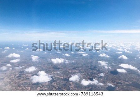 Sky blue or azure sky and cloud on land. It line of sky and land is beautiful