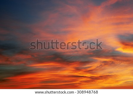 Sky, blue sky and red clouds - stock photo