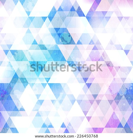 sky blue triangle seamless texture with grunge effect (raster version) - stock photo