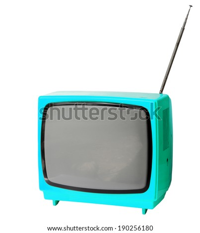 Sky blue vintage analog television isolated over white background, clipping path. - stock photo