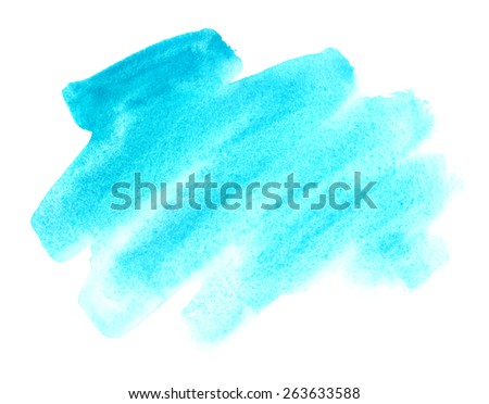 Sky blue watercolor painted background - stock photo