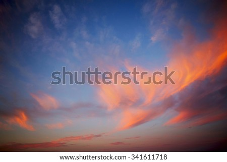Sky Bright Blue Orange And Yellow Colors Sunset. Instant Photo Toned Image - stock photo