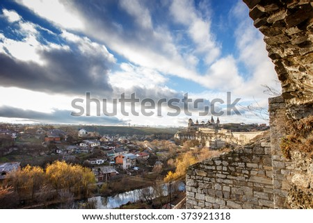sky clouds architecture of the Middle Ages  - stock photo
