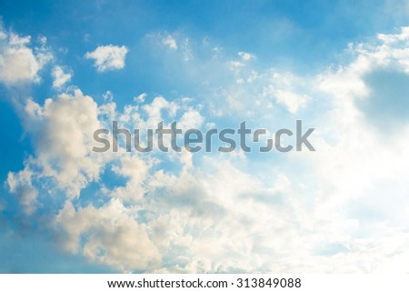 Sky clouds,sky with clouds and sun - stock photo