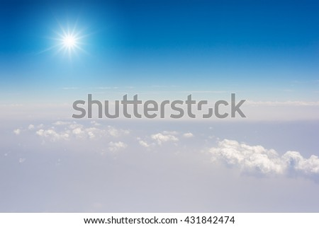 Sky, Cloudscape, Blue sky and white cloud, sun reflection - stock photo