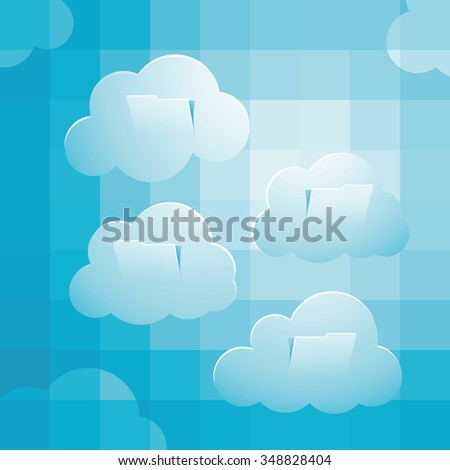 Sky computing concept, with pixelate sky, clouds folder structure - stock photo